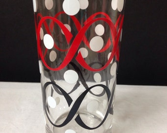 Libbey - Tumbler - Red, Black, White Polka Fors - 8 oz .