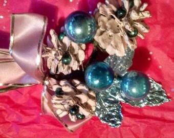 Vintage Blue Christmas Corsage ECS