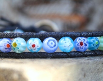 Blue Millerfiori Wrap, Single Wrap Bracelet, Vegan Wrap Bracelet, Vegan Jewelry, Beaded Wrap Bracelet, Blue Bracelet, Cruelty Free Jewelry