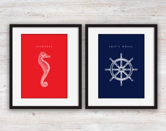 """Red and Navy Blue Nautical Art Set Printables - 5x7"""""""