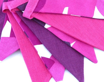 Bunting / Fabric Flag Banner / Pennant Nursery / Porch / Patio Decor / Photo Prop / Pink / Violet