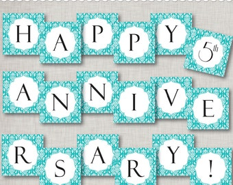 5th Anniversary Instant Download Banner - Turquoise Anniversary banner - printable PDF