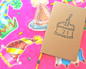21st Birthday Notebook  Birthday Card Mini Journal Birthday Gift for Him Gift for Her