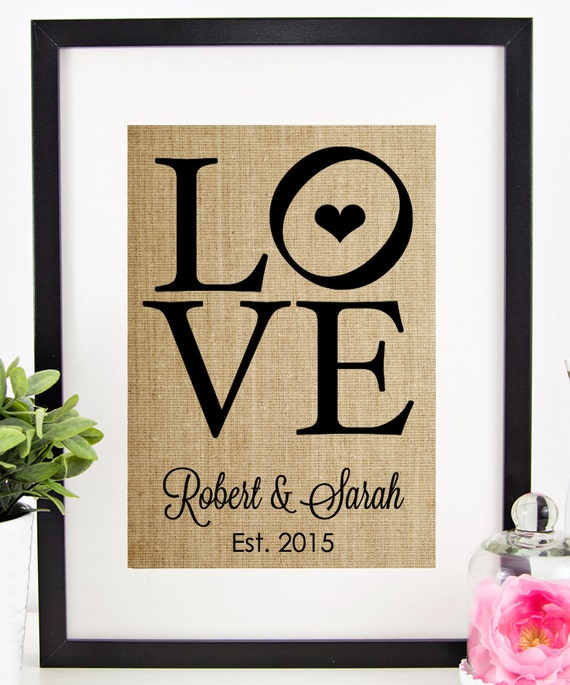 Wedding Gifts For Couples: Personalized Wedding Gift For Couple Burlap Print LOVE Sign