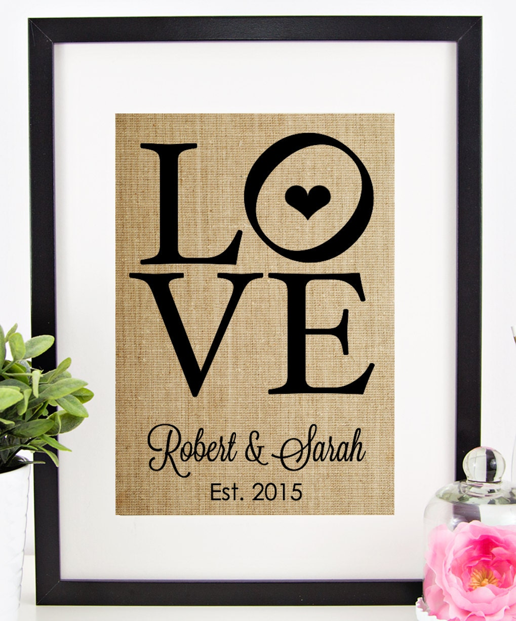 Personalized wedding gift for couple burlap print love sign for Personalized gifts for wedding