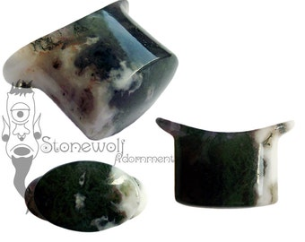 Green Moss Agate Stone Oval Labret Plug for Stretched Lip Piercings Handmade in UK