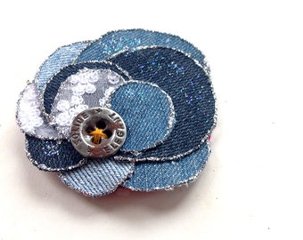 Handmade flower brooch or hair accessory made of denim fabric, bohemian, jeans, shabby, upcycling, turquoise, blue