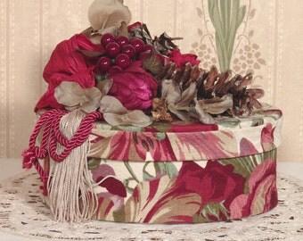 Victorian Hat Box /Keepsake-Trinket Handmade Vintage Style Fortuna Fabric FBO-1