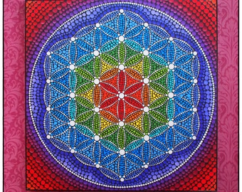 Colorful Print Laminated on woodblock- Rainbow Flower of Life