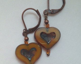 Czech Glass Gold Heart Earrings Small Heart Earrings