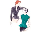 1950s Blouse Pattern Butterick 5456, Flared Peplum, Sexy Plunging V-Neck, Stand Up Collar, Nip Waist, Vintage Sewing Pattern Bust 30