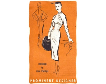 1950s Wiggle Dress Pattern Prominent Designer M272 Alan Phillips, Sexy Bombshell Dress Nip Waist Sheath, Vintage Sewing Pattern Bust 30