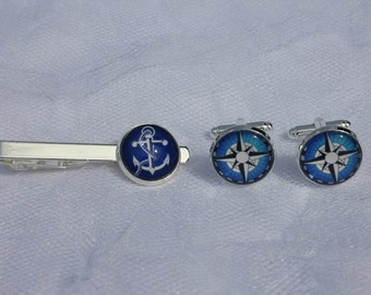 Blue Anchor Tie Clip and Nautical Compass Cuff Links