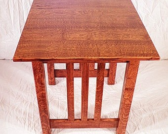 Accent Side End Table Custom Mission Craftsman Quarter Sawn Oak 26 Color Choice Made in USA