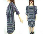 Vintage 80's Dress Avant Garde Dress Batwing Sleeve SLOUCHY Dress 80's Striped Dress Sack Dress 80's Mod Dress Glam Oversized Medium Large