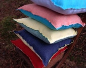 Washed Linen Double Sided Square Blue Pillow Blue 100% Linen Cushion Two Sided