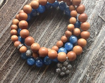 Sandalwood and Pave Diamond Charm Beaded Stretch Bracelet Boho Sandalwood Beads and Diamond Bracelet