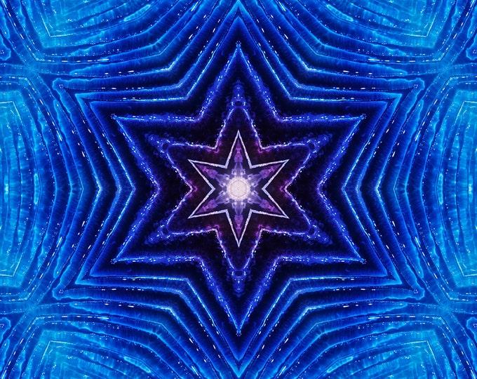 Blue Stars, Kaleidoscope, Digital Art, Abstract Art, Fine Art Photography