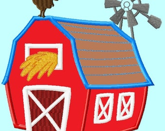 Farm Barn house with Windmill APPLIQUE Embroidery Design 3 sizes  INSTANT DOWNLOAD