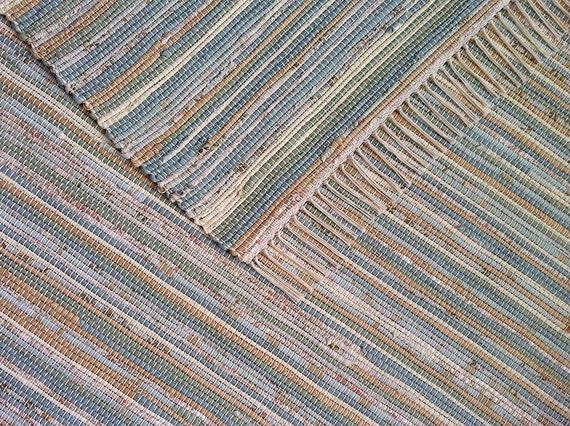 8x10 Rag Rug Tan Pale Slate Blue Pale By Vermontrugfarm