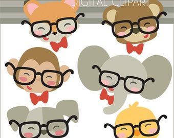 Animal Clipart Animals in Glasses -Personal and Limited Commercial Use- cute animal clip art