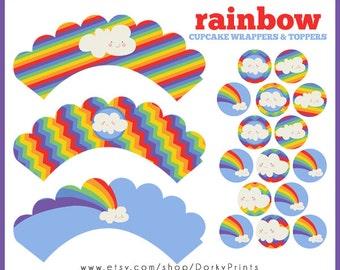 Rainbow Cupcake Labels Printable PDF - Printable Party Supplies - Rainbow Birthday Party DIY
