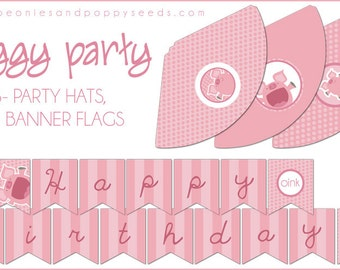 PIg Party Hats and Banner Printable PDF - Printable Party Supplies - Pink Piggy Birthday Party DIY