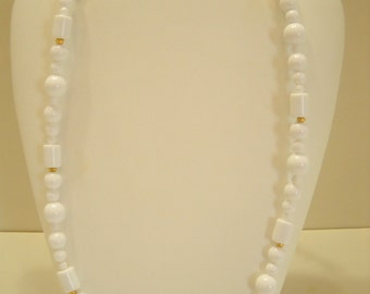 "Vintage Monet, 28"" White Plastic Beaded Necklace (8834**)"