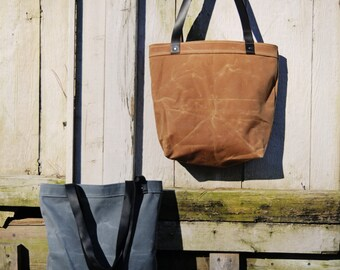 Waxed Canvas Market Tote with Leather Straps
