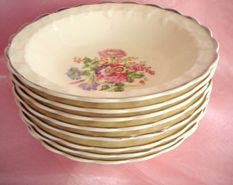 Vintage Shabby Berry Bowls TST China Taylor Smith Taylor Shabby Cottage Chic Floral Set of 8 Vintage Wedding
