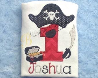 Pirate 1st Birthday Shirt, Pirate Applique Shirt, Birthday Pirate Hat Shirt, Pirate Sword & Treasure Chest, Boys Birthday Shirt