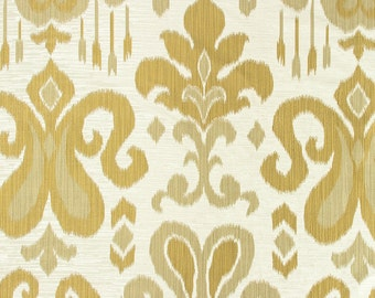 Gold Damask Fabric - Upholstery Fabric - Medallion Curtain Fabric by the Yard - Large Scale Gold Ivory Damask Fabric - Dark Gold Decor