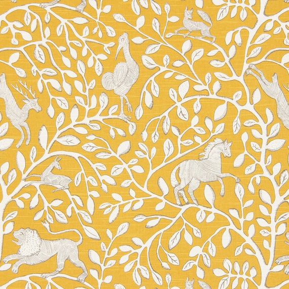 Yellow Animal Upholstery Fabric with Lions Custom Yellow