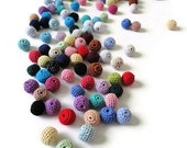 20 pcs-13 mm beads-crocheted bead-colorful beads-round beads-crochet ball beads-beads crochet-embellishment-wooden crochet cotton yarn bead