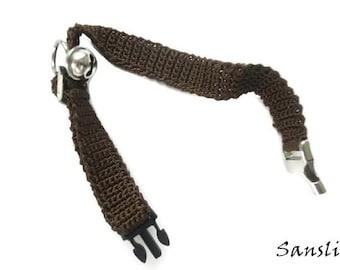 Cat collar-collar cat-adjustable collar-custom collar-crochet cat collar-cat accessories-.Adjustable cat collar brown with Bell