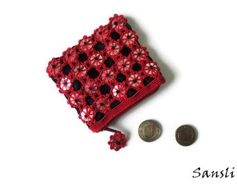 Women's wallet-women's accessories-gift for woman-small coin purse-red wallet-zippered wallet-crochet accessories-crochet wallet