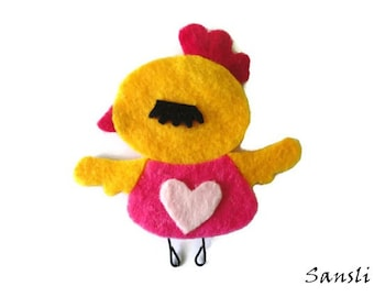 Felt brooch-brooch felt-felt pin-felt bird brooch-bird brooch-animals brooch-felt jewelry-felt accessories-yellow bird brooch
