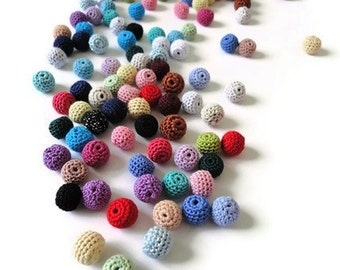 20 pcs-13 mm beads-crocheted bead-colorful beads-round beads-crochet ball beads-beads crochet-embellishment-wooden crochet cotton yarn bead
