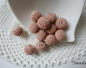 12 pcs-13 mm beads-crocheted bead-beige beads-round beads-crochet ball beads-beads crochet-embellishment-wooden crochet cotton yarn beads