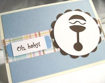 """Baby Rattle """"Oh, Baby!"""" Light Blue Baby Boy Congratulations Card with Pastel Madras Plaid, 3 1/2 x 5"""