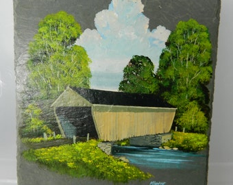 Vintage Oil Painting on Slate Covered Bridge Oil Painting Signed Painting