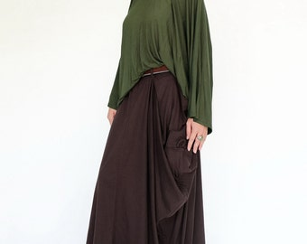 NO.123 Brown Cotton Jersey Mega Pocket Maxi Skirt