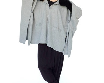 NO.163 Heather Grey Cotton-Blend Jersey Cover Me Hoodie Poncho