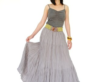 NO.5 Pigeon Grey Cotton Gauze, Hippie Gypsy Boho Tiered Long Peasant Skirt