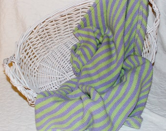 Soft Knit Baby Blanket in Lilac and Green Stripes