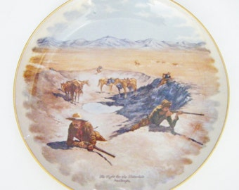 """Frederic Remington Gorham Fine China Gold Rimmed Plate """"The Fight For The Water Hole"""""""