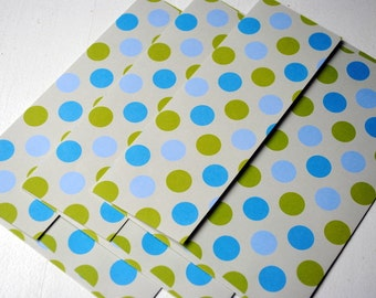 Green and Blue Polka Dots Patterned Set of 3 Handmade Envelopes by Paper Hearts Station on Etsy