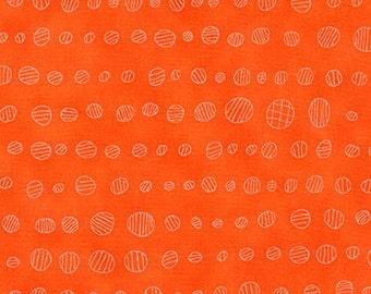 Modern print cotton fabric, Doe in carrot, by Carolyn Friendlander for Robert Kaufman, bright orange fabric