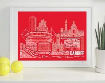 Cardiff Skyline Typography Print