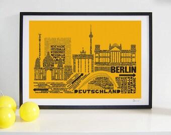 Berlin Skyline Typography Print